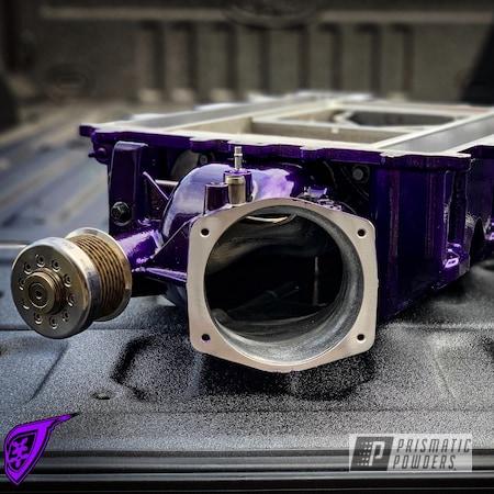 Powder Coating: Automotive,SUPER CHROME USS-4482,Candy Purple PPS-4442,Supercharger
