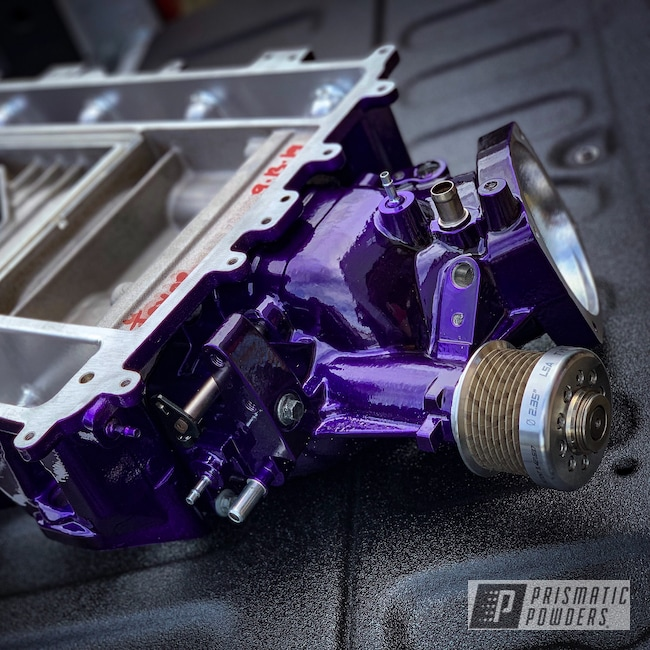 Powder Coating: Automotive,SUPER CHROME USS-4482,Candy Purple PPS-4442,Supercharger