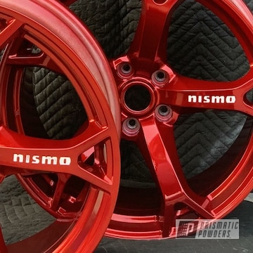 Powder Coated Red Nismo Wheels