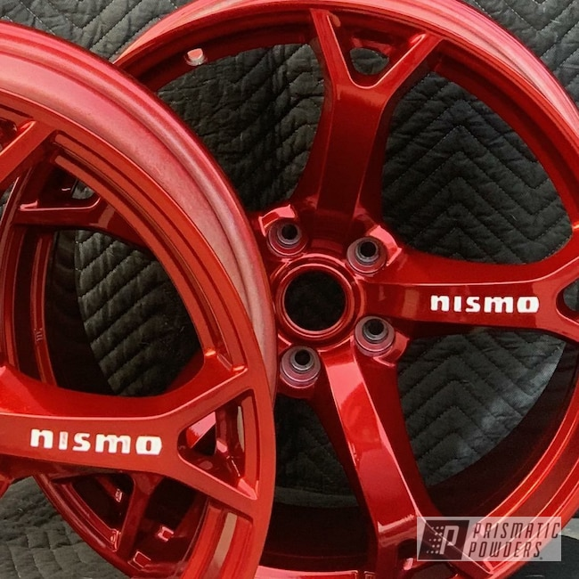 Powder Coating: Wheels,Automotive,SUPER CHROME USS-4482,LOLLYPOP RED UPS-1506,Polar White PSS-5053,Nismo Wheels,Nismo