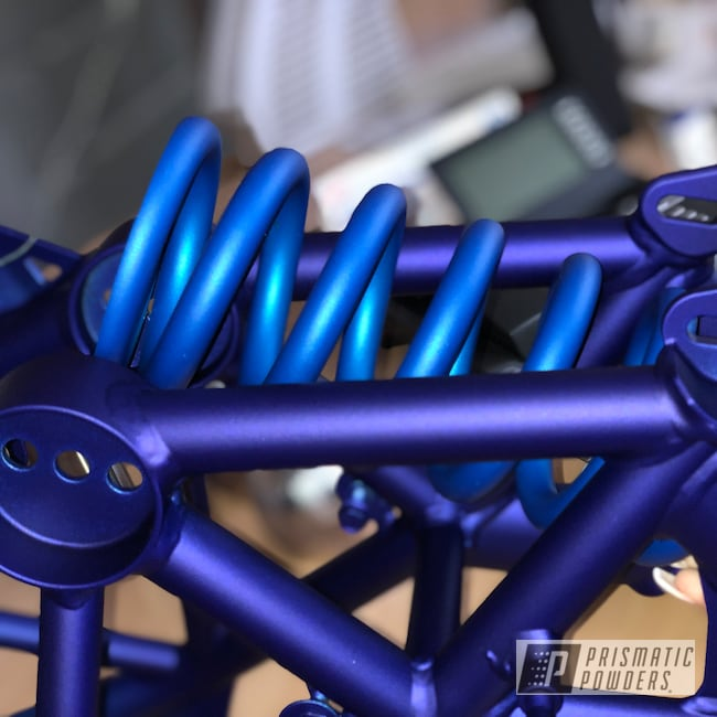 Powder Coating: KTM,Motorcycle Frame,Illusion Lite Blue PMS-4621,Matte Finish,Motorcycles,Illusion Royal PMS-6925,Casper Clear PPS-4005