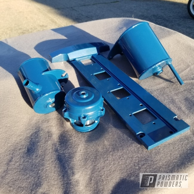 Powder Coating: Automotive,Evo 8,Blow Off Valve,Baltic Blue PMB-1683,Mitsubishi,Reservoir,Power Steering,Car Parts,Coil on Plug Plate