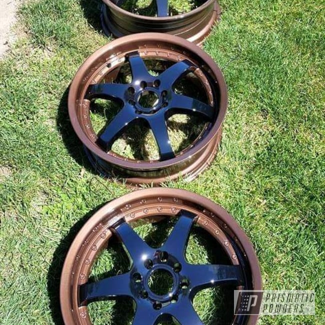 """Powder Coating: Wheels,Multi-Powder Application,Automotive,Clear Vision PPS-2974,Two Stage Application,2 Tone,17s,Ink Black PSS-0106,17"""" Wheels,VANDOOZY COPPER UMB-6675,Custom 2 Coats,Two Tone"""