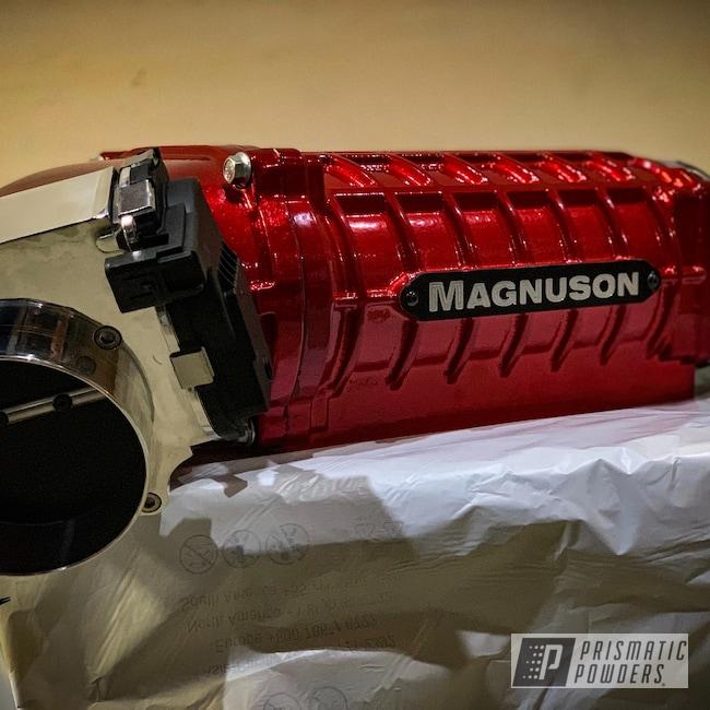 Powder Coating: Automotive,SUPER CHROME USS-4482,LOLLYPOP RED UPS-1506,Magnuson,Automotive Parts,Dodge 2650,Supercharger