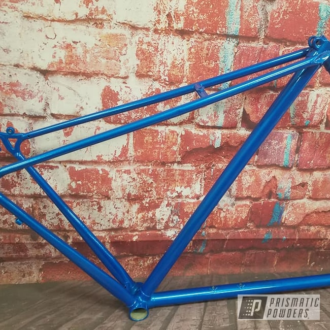Powder Coating: Bicycles,Clear Vision PPS-2974,Illusion Lite Blue PMS-4621,Bicycle Frame