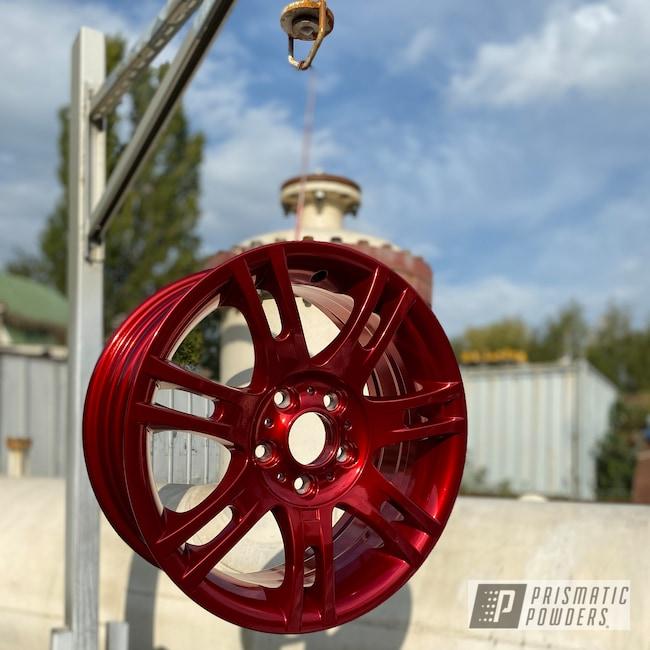 "Powder Coating: Wheels,Automotive,18"",SUPER CHROME USS-4482,BMW,18"" Aluminum Wheels,Rancher Red PPB-6415"
