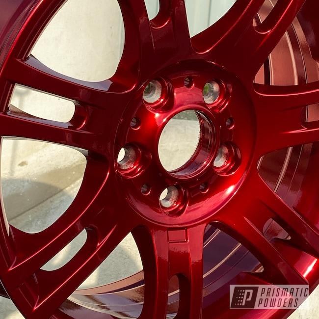 "Powder Coating: Wheels,Automotive,18"",SUPER CHROME USS-4482,BMW,18"" Aluminum Wheels,Rancher Red PPB-6415"