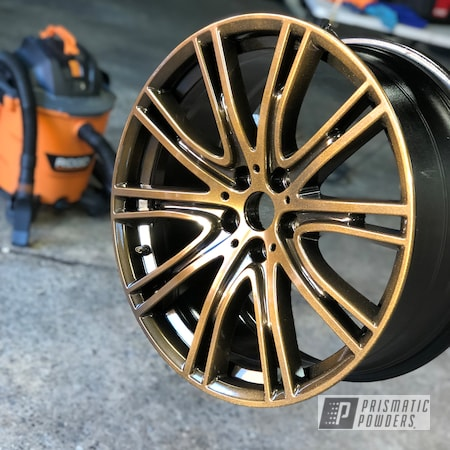 Powder Coating: Wheels,Automotive,GLOSS BLACK USS-2603,Orange Marmalade PPB-5111