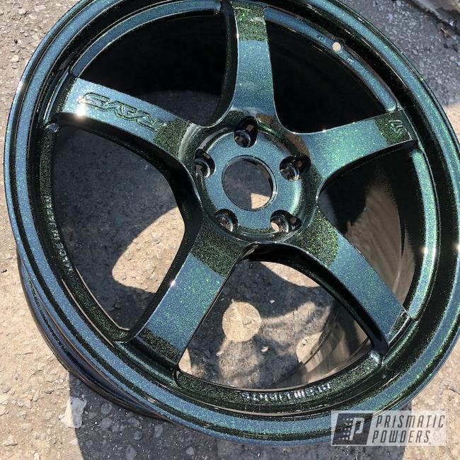 Powder Coating: Wheels,Automotive,RAYS Wheels,GLOSS BLACK USS-2603,Disco Moss PPB-7042