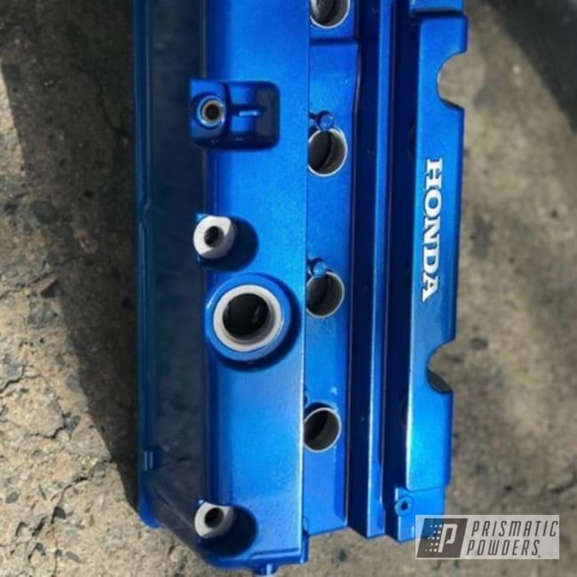 Powder Coating: Illusion Blue-Berg PMB-6910,Automotive,Clear Vision PPS-2974,Honda,Valve Cover,k20