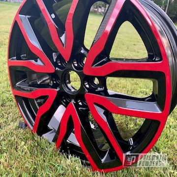 Powder Coated Red And Black 18 Inch Aluminum Wheels