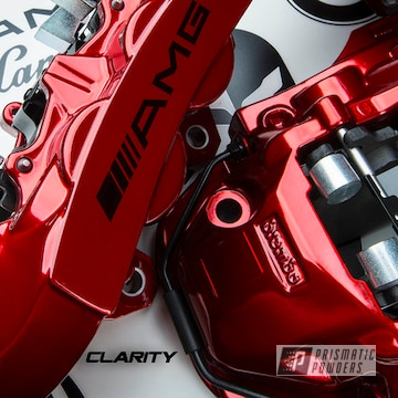 Powder Coated Red Mercedes Amg Brake Calipers