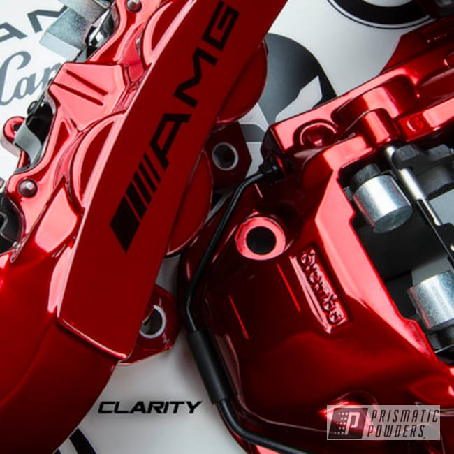 Powder Coating: Automotive,SUPER CHROME USS-4482,LOLLYPOP RED UPS-1506,Mercedes,Brake Calipers,AMG SL 63