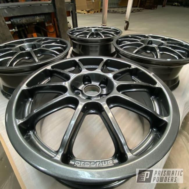 "Powder Coating: Wheels,Automotive,Alloy Wheels,17,Speedway Grey PMB-4911,17"" Wheels,Custom Powder Coated Wheels,Subaru,Prodrive,Prodrive P1,Speedway Silver"