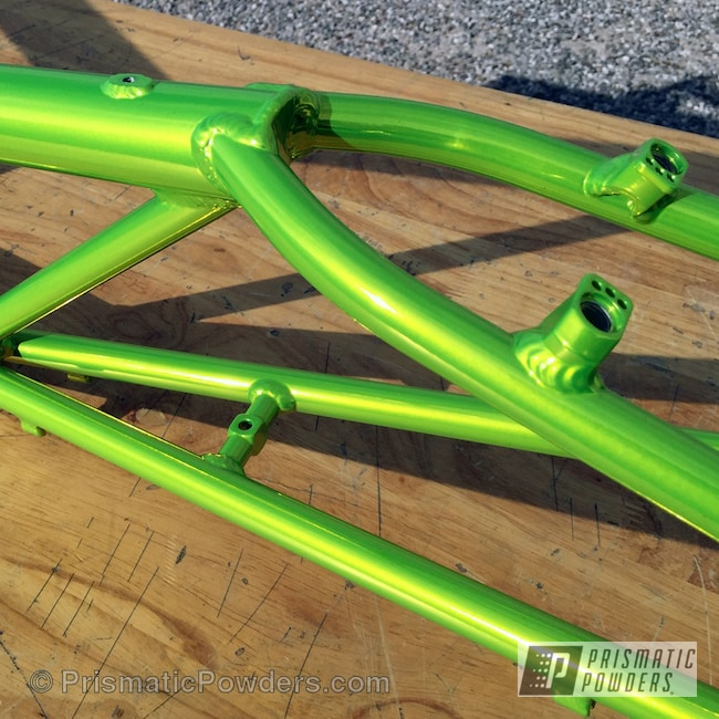 Powder Coating: Bicycles,SUPER CHROME USS-4482,chrome,Glowing Yellow PPB-4759,RANS Bikes,Custom Powder Coated Bike Frame