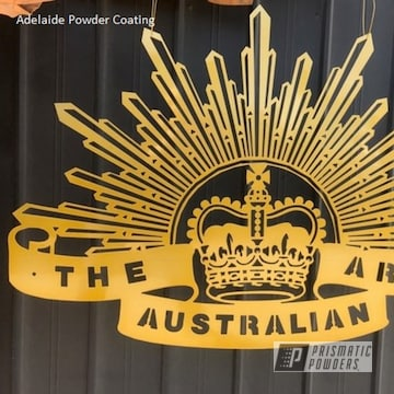 Powder Coated Gold Metal Sign