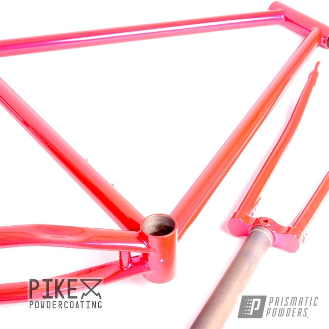 Powder Coating: Bicycles,Surly,SUPER CHROME USS-4482,Corkey Pink PPS-5875,Bicycle Frame