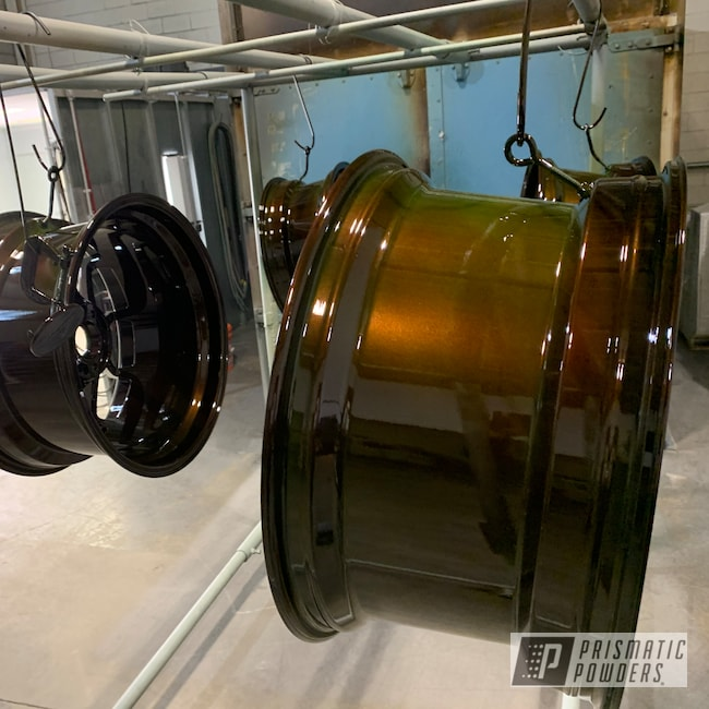 Powder Coating: Wheels,Automotive,Custom Rims,Transparent Copper PPS-5162,2 Tone Rims,Candle Green PMB-4330,21Wheel,Two Tone,Layered Colors