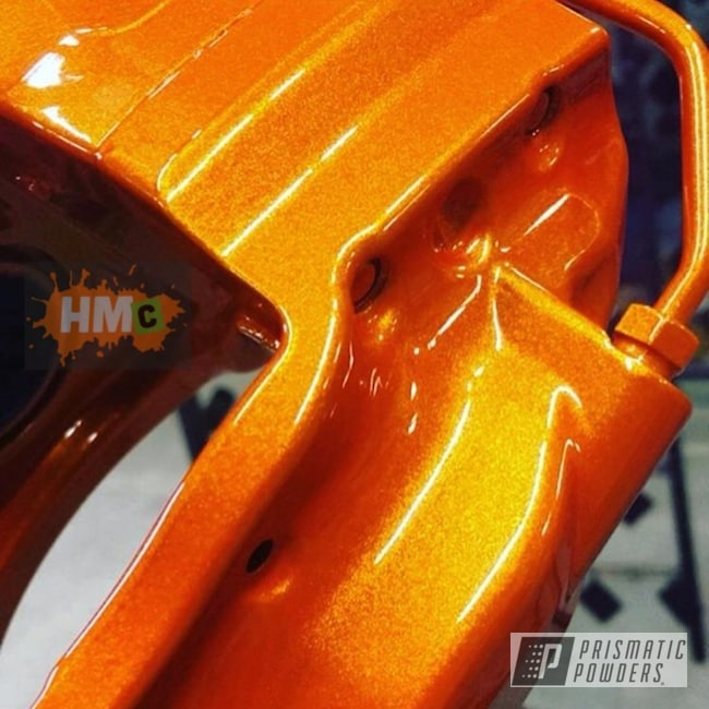 Powder Coating: Automotive,Calipers,Clear Vision PPS-2974,Brake Calipers,Caliper,Clear Top Coat,Metallic Powder Coating,Illusion Orange PMS-4620,Custom Brake Calipers
