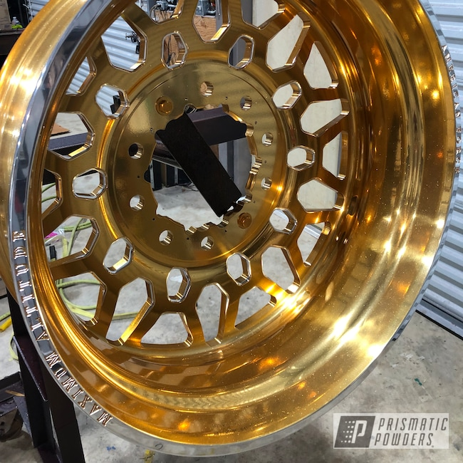 Powder Coating: Flaming Gold PPB-4698,Wheels,Automotive,SUPER CHROME USS-4482,SEMA 2019,American Force,SEMA Project