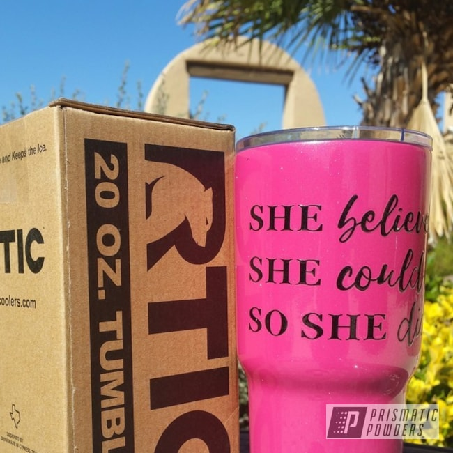 Powder Coating: Silver Sparkle PPB-4727,Tumbler,Custom RTIC 20oz Tumbler,Lazer Polka Dot Pink PMB-2340,Miscellaneous