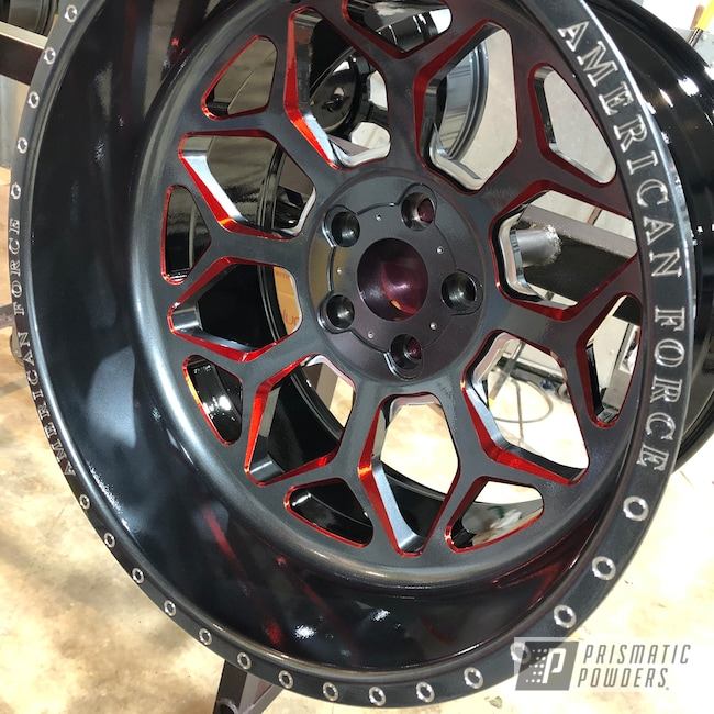 "Powder Coating: Wheels,Wizard Black PMB-4671,Automotive,Clear Vision PPS-2974,Ink Black PSS-0106,20"" Aluminum Wheels,American Force,WILDER RED UPB-4842,SEMA Project"