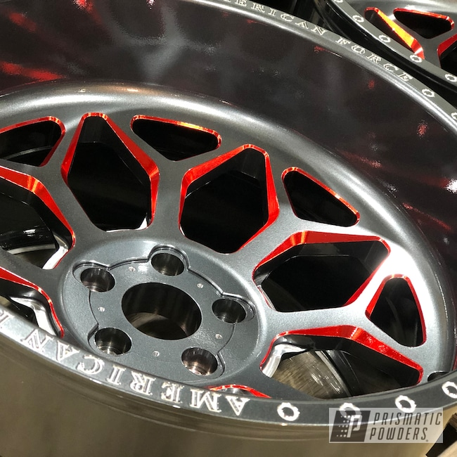 """Powder Coating: Wheels,Wizard Black PMB-4671,Automotive,Clear Vision PPS-2974,Ink Black PSS-0106,20"""" Aluminum Wheels,American Force,WILDER RED UPB-4842,SEMA Project"""