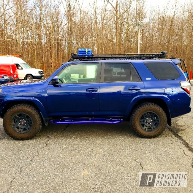 Powder Coating: Color Match,Automotive,SUPER CHROME USS-4482,2 Stage Application,Running Boards,Toyota,Intense Blue PPB-4474,4runner