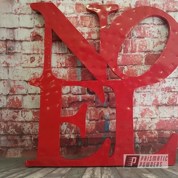 Powder Coated Carmine Red Metal Noel Sign