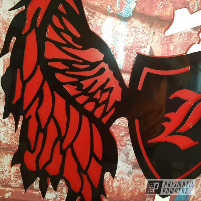 Powder Coating: Multi Color Application,Ink Black PSS-0106,Monogram,RAL 3002 RAL-3002,Gloss White PSS-5690,Coat of Arms,Custom Sign,Metal Sign