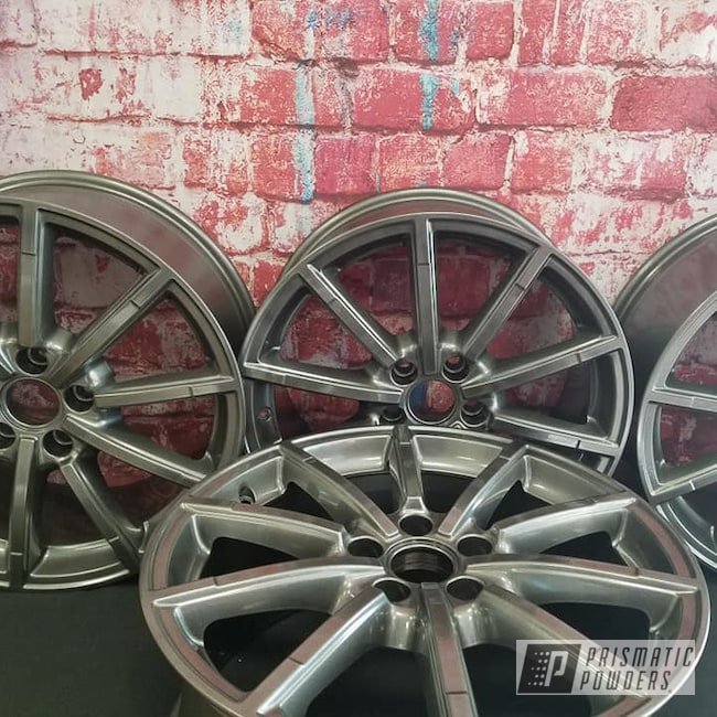 "Powder Coating: Wheels,Automotive,Clear Vision PPS-2974,18"",Kingsport Grey PMB-5027,Automotive Rims,18"" Aluminum Wheels"