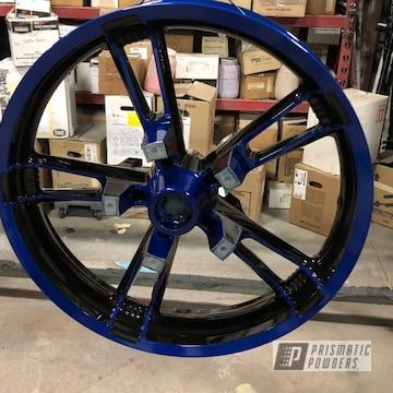 Powder Coated Blue Motorcycle Wheels