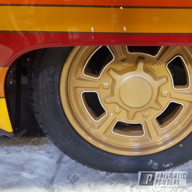 Powder Coating: Wheels,Automotive,Clear Vision PPS-2974,Aluminum Rims,Gold Bar Gold HMB-2225