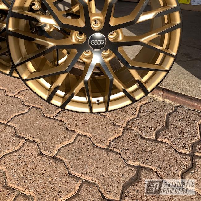 Powder Coating: Wheels,Matte Black PSS-4455,Automotive,Poly Gold PMB-4211,Audi,Two Tone,Audi R8
