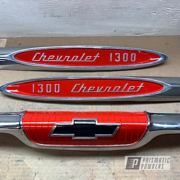 Powder Coated Red Chevy Pickup Emblems