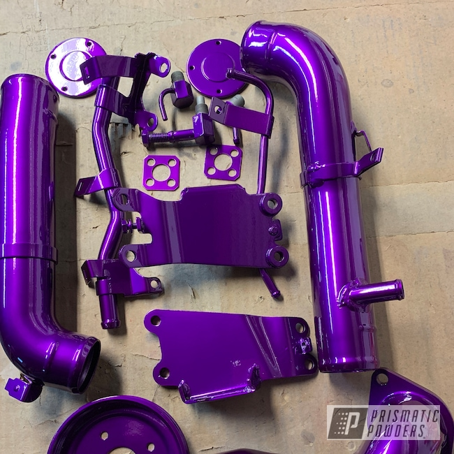 Powder Coating: Illusion Purple PSB-4629,Automotive,Clear Vision PPS-2974,Engine Parts