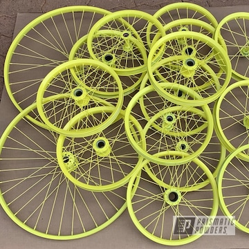 Powder Coated Yellow Custom Bicycle Wheels