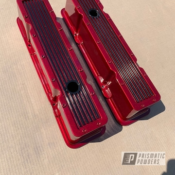 Powder Coated Red And Black Aluminum Valve Covers