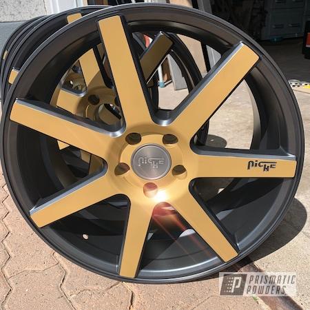 Powder Coating: Wheels,Automotive,Evo Grey PMB-5969,Niche,Poly Gold PMB-4211,Niche Wheels,Two Tone