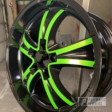 Powder Coated Green And Black Two Tone Wheels