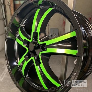Powder Coated Green And Black Two Tone Wheels