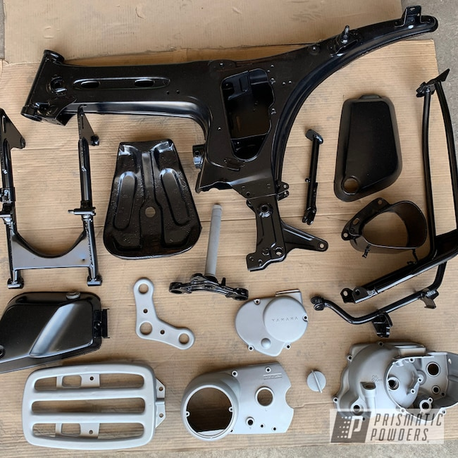 Powder Coating: BMW Silver PMB-6525,Matte Black PSS-4455,Automotive,Yamaha,Restoration,Motorcycles