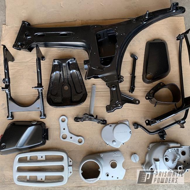 Powder Coating: BMW Silver PMB-6525,Matte Black PSS-4455,Automotive,Yamaha,Restoration,Motorcycles