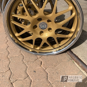 Powder Coated 3 Piece Chrome And Gold Hre Wheels