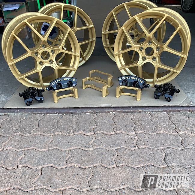 Powder Coating: Wheels,Goldtastic PMB-6625,Matte Black PSS-4455,Automotive,Brake Calipers,Corvette,Corvette Wheels