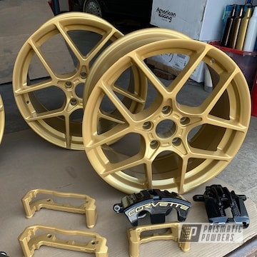 Powder Coated Black And Gold Corvette Calipers And Wheels