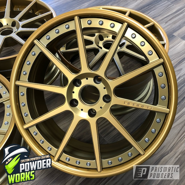 Powder Coating: MATTE CLEAR PPB-4509,Wheels,Automotive,SUPER CHROME USS-4482,Two Piece Wheels,Anodized Gold PPB-2262