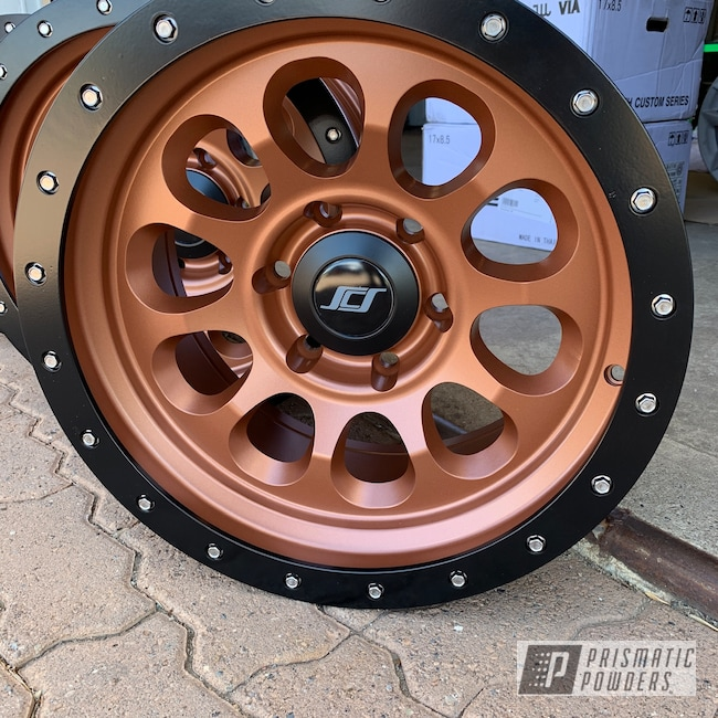 Powder Coating: Wheels,Canyon Copper II PMB-8037,Matte Black PSS-4455,Automotive,Two Tone,Truck wheels