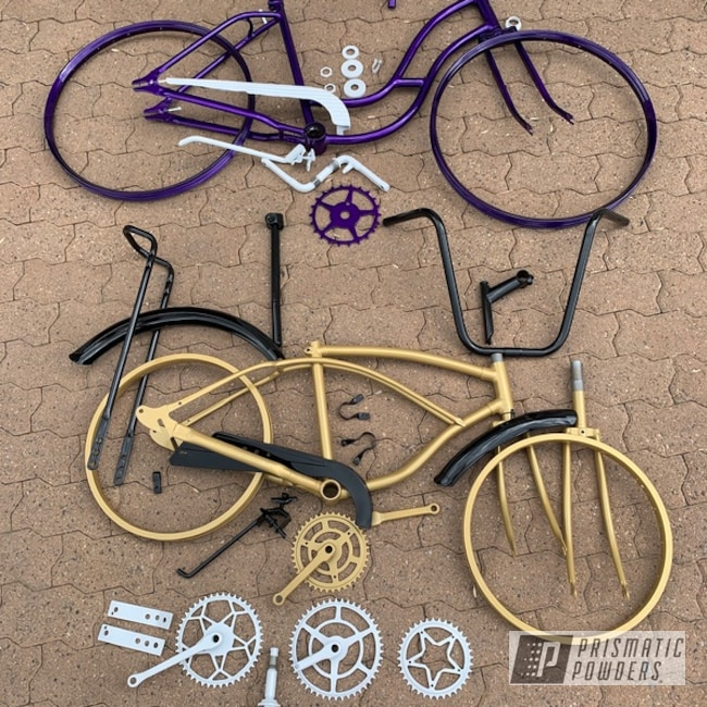 Powder Coating: Matte Black PSS-4455,Bicycles,Clear Vision PPS-2974,Poly Gold PMB-4211,Bicycle Parts,Cloud White PSS-0408,Illusion Violet PSS-4514