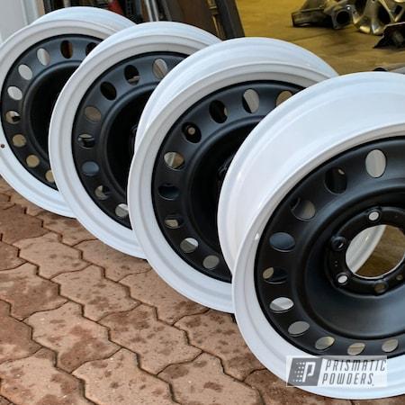 Powder Coating: Wheels,Automotive,BLACK JACK USS-1522,Toyota,Cloud White PSS-0408,Two Toned